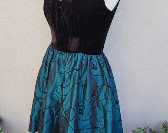 90's Black Velvet Party Dress, Black Party Dress, Black and Teal Dress, Taffetta and Velvet Dress, Black Dress, 90's Clothing, Christmas