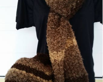 Scarf and beige and Brown curly Hat set