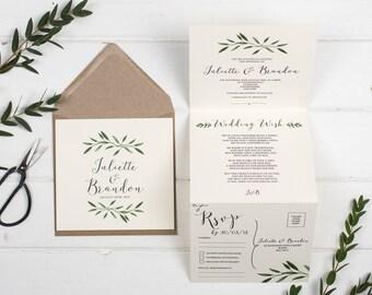 Rustic Wedding Invitation - Double-Folded Natural Woodland