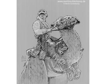 Star Wars Episode 5 Luke Skywalker Taun Taun - Sketch Drawing Zeichnung - Original