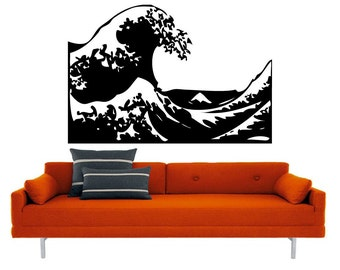 LARGE Kanagawa Wave vinyl decal- mount fuji ocean interior design, sticker art, room, home and business decor