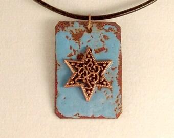 Copper Enameled Star of David Pendant - Aqua