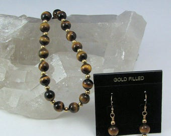 Tigers Eye Necklace and Earring Set, Natural Stone Jewelry Set, Gift for Her, 18 Inch Genuine Tigers Eye Necklace