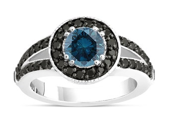 Fancy Blue Diamond Engagement Ring 14k White Gold 1.56 Carat Unique Pave Halo Handmade Certified