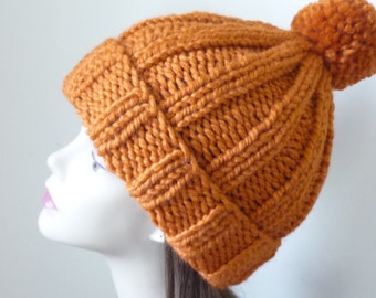 Gift for Her Knit Slouch Hat or Rolled Brim Hat with Pompom - Wool Blend Pumpkin - Ready to Ship - Gift for Her