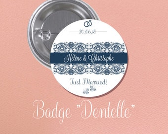 """Wedding guest gift theme BADGE """"lace"""""""