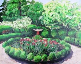 Historic Garden art, Barrington Hall Garden art, Formal Garden scene, Boxwoods, 11 x 14 print, Shirley Lowe, Barrington Hall, Roswell, GA