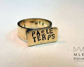 Ring personalized message on order, Word or name custom