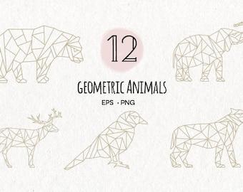 Geometric Animals Collection // Wildlife Geometric Bundle // Geometric Polygonal Illustration