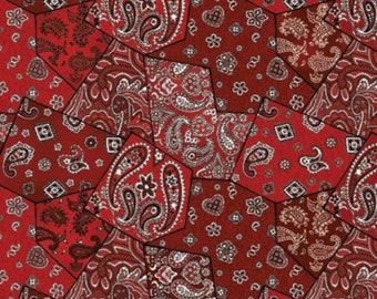 RODEO ROUNDUP Northcott by the HALF yard cotton quilt fabric red patchwork bandana cowboy western 4861-24