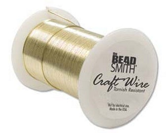 Beadsmith 26ga Gold Color Tarnish Resistant Craft Wire -  34 Yards - Jewelry Making - Crafts