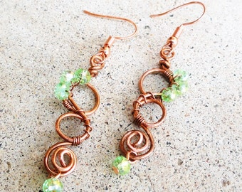 Green Crystal Copper Swirl Earrings Wire-wrapped Handmade Dangle Beaded Earrings By Distinctly Daisy