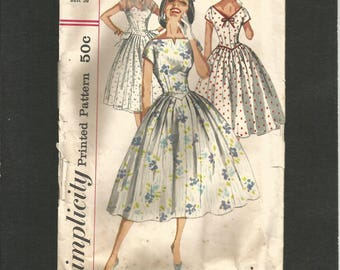 Vintage 1950s Simplicity 2023  Misses One Piece Dress Basque-like  bodice Bateau neckline Full Skirt  bust 36
