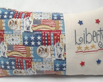 Patriotic Liberty Cross Stitch Accent Pillow Independence Day July 4