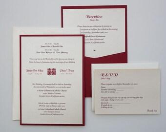 Bilingual English And Vietnamese Tradition Wedding Invitations - Wedding invitation templates: vietnamese wedding invitation template