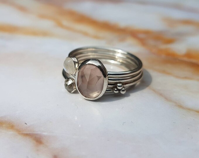 Featured listing image: Rose quartz Moonstone Diamond ring SET of 4 / 925 sterling silver / Raw Natural / Pink Beige White / Ringstack / Gemstones / Handmade / Love