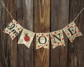 I'M ONE Banner, First Birthday, Girl Birthday, Birthday Banner, Ladybug Birthday, Photo Prop, 1st Birthday Banner, Ladybug Banner