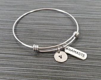 Namaste Bangle Bracelet - Namaste Charm Bracelet - Adjustable Bracelet Bangle - Namaste Bracelet - Initial Bracelet - Inspirational Jewelry