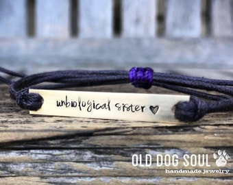 Custom Hand Stamped Bracelet Unbiological sister jewelry friendship bracelet, Custom Name Jewelry, Quote Bracelet, bulk stamped bracelets