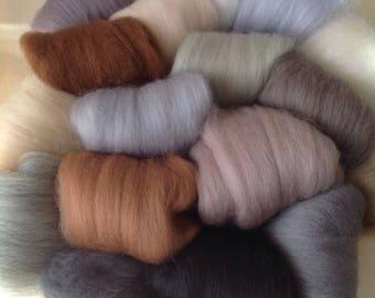 16 Wools, ANIMAL Colours, Soft Felting Wool, Needle-felting or Wet-felting.