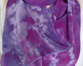 silk scarf crepe large long Purple Wisteria unique wearable art women hand painted luxury fashion