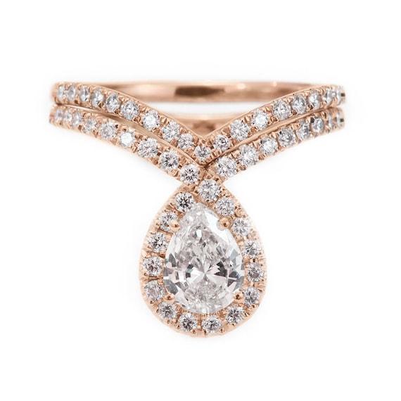 Pear Shape Diamond Ring Wedding Rings Set With Diamond Crown