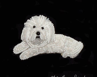 BICHON FRISE beaded keepsake dog art pin pendant jewelry-  Gift for Her (Made to Order)