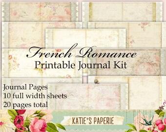 French Romance - Printable Journal, Digital Journal Kit, Printable Graphics, Mini Album, Mini Book, Romantic Theme Digital Kit, Gift for Her
