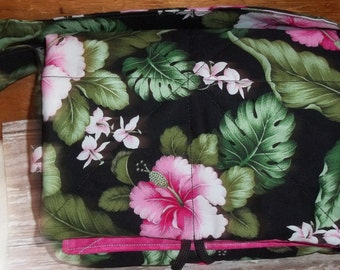 Budget Organizer or Coupon Organizer Tote Bag Pink Iris Flowers w Pink Offset print fabric Quilted Sorts Coupons w Key and Pen Hoder
