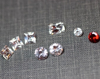 CZ Stones Faceted Square or Round Gemstones Cubic Zirconia Faceted Stone 5mm