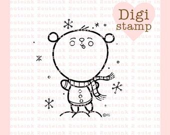 Oso de cinamomo Catching Snowflakes línea arte para la fabricación de la tarjeta, papel de mano bordado, joyería, manualidades, Scrapbooking, dibujos para colorear