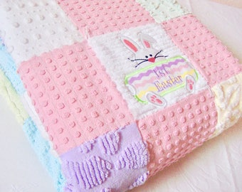 """Handmade """"My 1st Easter"""" Vintage Cotton Chenille Patchwork Crib Quilt 36 x 41 Inches"""