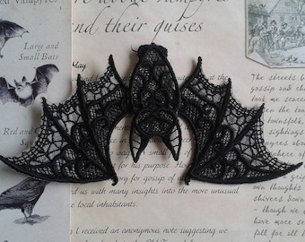 UK Black Gothic flying bat applique, trimming, free-standing lace, cake decoration, patch