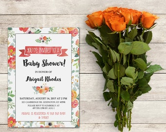 Baby Shower Invitation, Floral Baby Shower Invite, Garden Theme, Shabby Chic Invite, Watercolor Flowers,Baby Shower Girl, Printable No. 1042