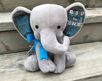 Keepsake, Baby Elephant, Customized, Personalized, Birth Stat, New Baby Gift, Birth Announcement