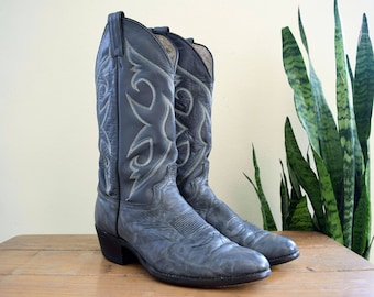 ABILENE Men's 9 1/2 D Vintage Cowboy Boots Gray Marbled Leather Western 5-Stitch Tops 6725 9.5