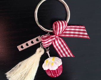 CLEARANCE - key cupcake red velvet and pompon
