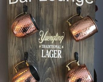 Personalized Bar Lounge Sign with mug holders / Man Cave / Bar Lounge / Bar Decor / Bar Signs / Beer Mug Holder / Beer Signs
