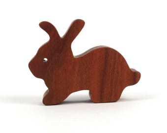 Miniature Easter Bunny, Wooden Rabbit Figurine, Wood Easter Decoration, Country Decor, Woodland Animal, Cherry