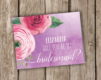 Will You Be My Bridesmaid Cards - Personalized Will You Be My Bridesmaid Cards - Wedding Party Cards - Bridal Party Cards Watercolor