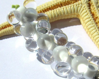 SMAUGGS handmade beadset BOBBELS (10pcs., 15mmx7mm), glass, white, transparent, hole 2mm