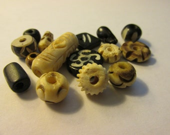 Carved Assorted Bone Bead Mix, 5mm-25mm, Set of 15 assorted