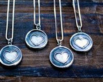 Simple Heart Silver Wax Seal Stamp Necklace