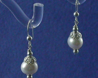 Pearl and Sterling Silver Bridal Earrings / 8mm Freshwater Pearl Sterling Silver Drop Earrings /Pearl Bridal Jewelry