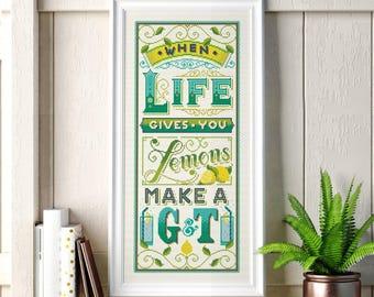 When life gives you lemons - Cross Stitch Pattern (Digital Format - PDF)