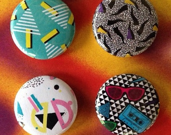 Totally 80s 1 inch badge set of four