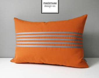 Decorative Grey & Orange Outdoor Pillow Cover, Modern Striped Pillow Cover, Sunbrella Cushion Cover, Mazizmuse Gray Stripe, Aligned