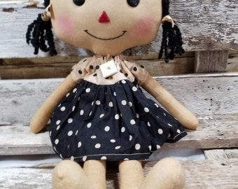 Raggedy Annie Lucy Annie Primitive Doll Raggedy Ann Black Polka Dot Dress Annie Doll Ready To Ship!
