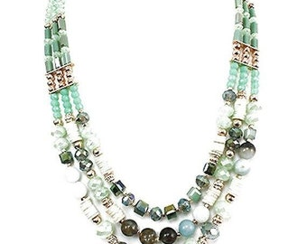 Multicolor Green Triple Strand Faceted Crystal Beaded Necklace