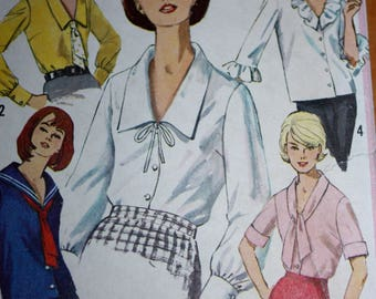 Vintage Blouse Pattern With Several Variations---Simplicity 5645---Size 16  Bust 36  UNCUT